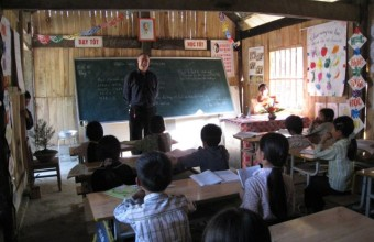 Talking to a group of fourth grade students in rural Vietnam in 2007.