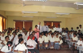 Working with Students at a Lab School in Mysore, India, 2007.
